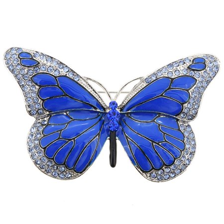 Blue Monarch Butterfly Crystal Pin (Sterling Butterfly Pin)
