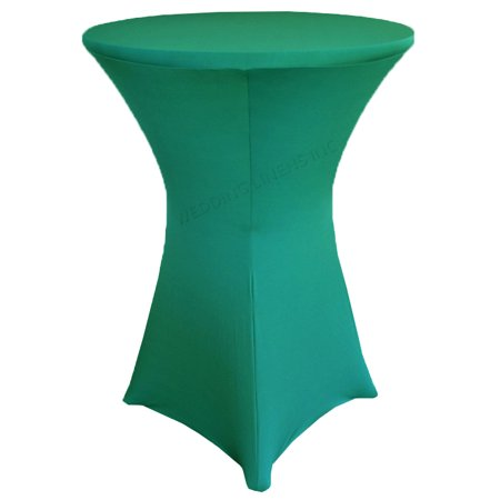 Jade Cocktail (Wedding Linens Inc. Wholesale (200 GSM) 36 in x 42 in Cocktail Highboy Spandex Stretch Fitted Round Table Cover Tablecloths Jade )