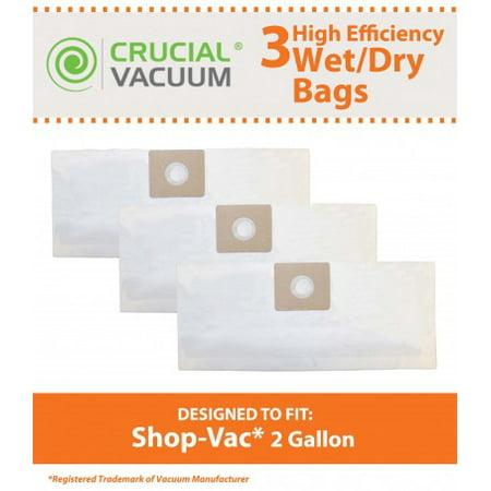3 Shop-Vac 2 Gallon Type B Bags, Part # SV-9066800 (S2-shop)