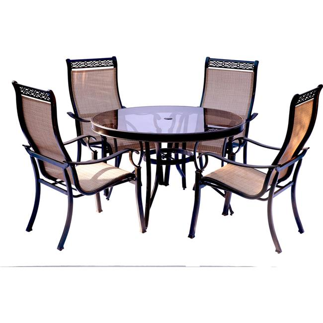Monaco Dining Set with Glass Table - 5 Piece