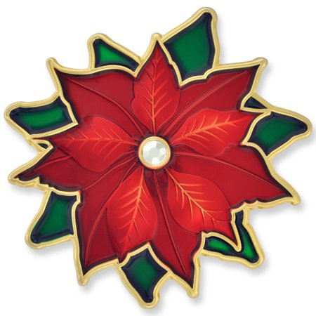 Christmas Poinsettia Rhinestone X-Mas Holiday Enamel Brooch Pin