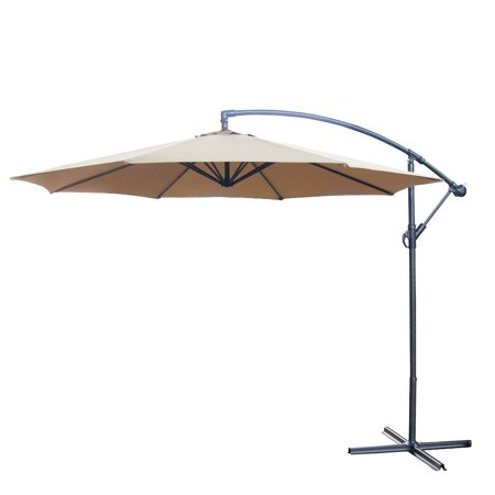 10 Foot Offset Backyard Patio Umbrella Tan Polyester Outdoor ...