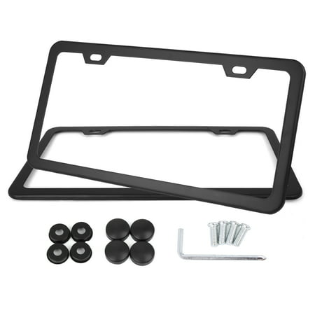 2 Pcs Black Stainless Steel Car License Plate Frame Holder w/ Screws - 4