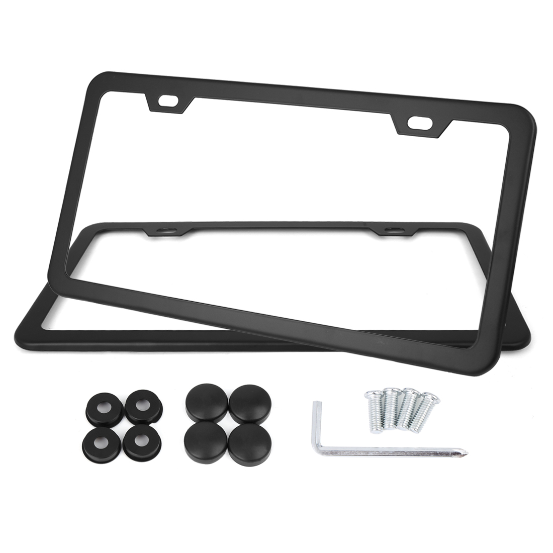 2 Pcs Black Stainless Steel Car License Plate Frame Holder w/ Screws - 4 Hole