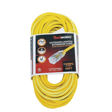 REELWORKS Heavy Duty 50 FT Long Extension Cord For Indoor and Outdoor 50 Feet PRO Level (14AWG) (Long Extension Cords)