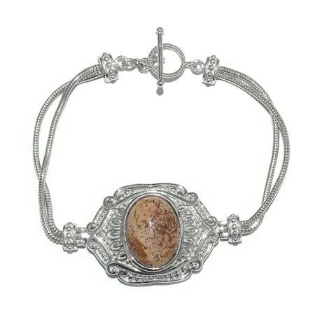 - Women's Picture Jasper Chain Statement Bracelet Jewelry Gift 7.5'' Cttw 14.4