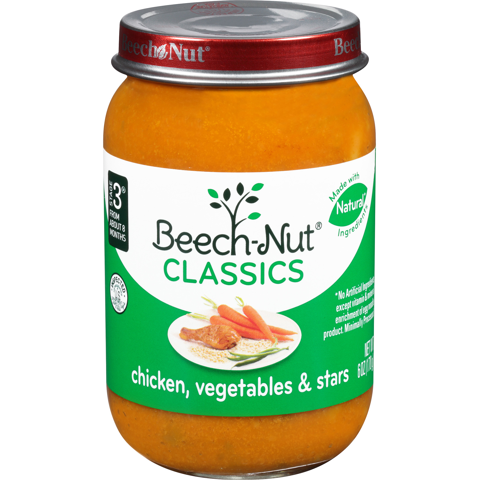 Beech-Nut Classics Stage 3 Chicken, Vegetables & Stars Baby Food, 6 oz, (Pack of 10)