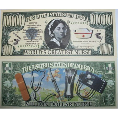 Set of 5 Bills-Million Dollar Nurse, By Novelties - Wholesale Novelties Items