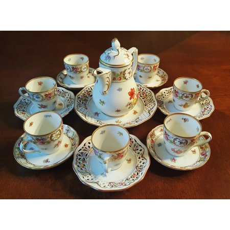 Canvas Print Teacups Fine China China Tea Set Tea Chinaware Stretched Canvas 10 x 14
