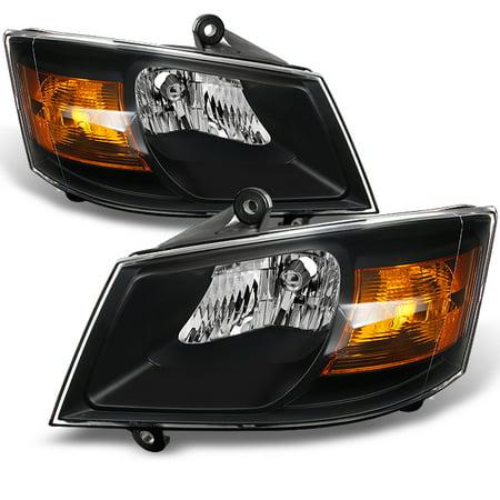Fit 08-10 Grand Caravan Black Headlights Lamps Replacement Left+Right 2008-2010