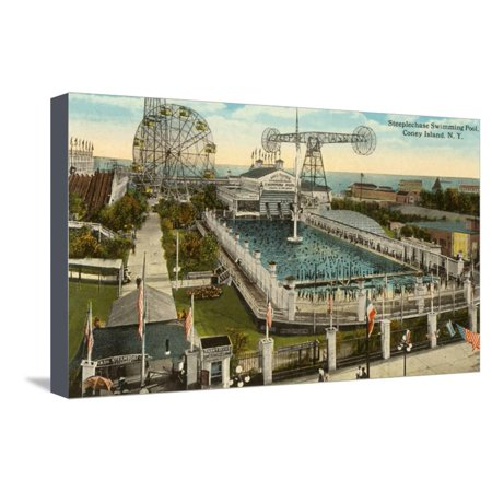 Steeplechase Swimming Pool, Coney Island, New York City Stretched Canvas Print Wall Art - Pool City Cranberry