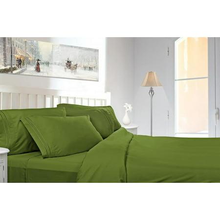 Green Bed Sheets (Clara Clark 1800 Series Deep Pocket 4pc Bed Sheet Set King Size, Calla)