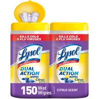 Lysol Dual Action Disinfecting Wipes, Citrus 150ct (2X80ct)