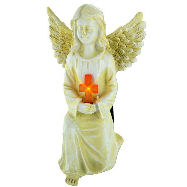 Solar Angel Statue With Cross (Pack Of 4)