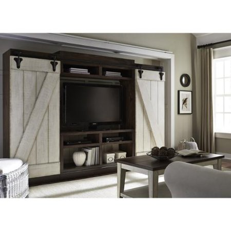 Liberty Lancaster Weathered Bark And White Entertainment Center With Piers