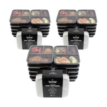 30pk 3 compartment reusable food storage meal prep containers w lids microwave dishwasher. Black Bedroom Furniture Sets. Home Design Ideas