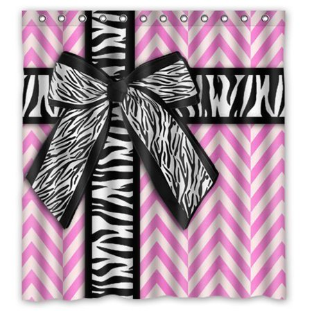 Chevron Zebra - MOHome Cute Girly Pink White Chevron with Zebra Ribbon Bow Shower Curtain Waterproof Polyester Fabric Shower Curtain Size 66x72 inches
