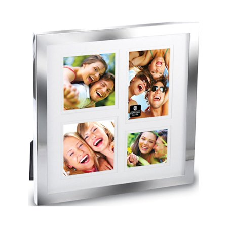 Silver Plated Shadow Box 4 Photo Collage Metal Photo Frame Walmartcom