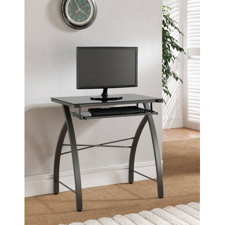 Selah Home & Office Workstation Computer Desk, Grey Metal Frame & Black Tempered Glass Top With Pull-Out Keyboard, Transitional