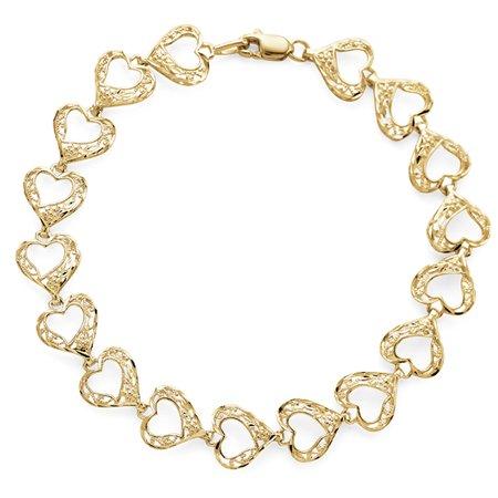 Open Filigree Heart Bracelet in 10K Yellow Gold - 7.25