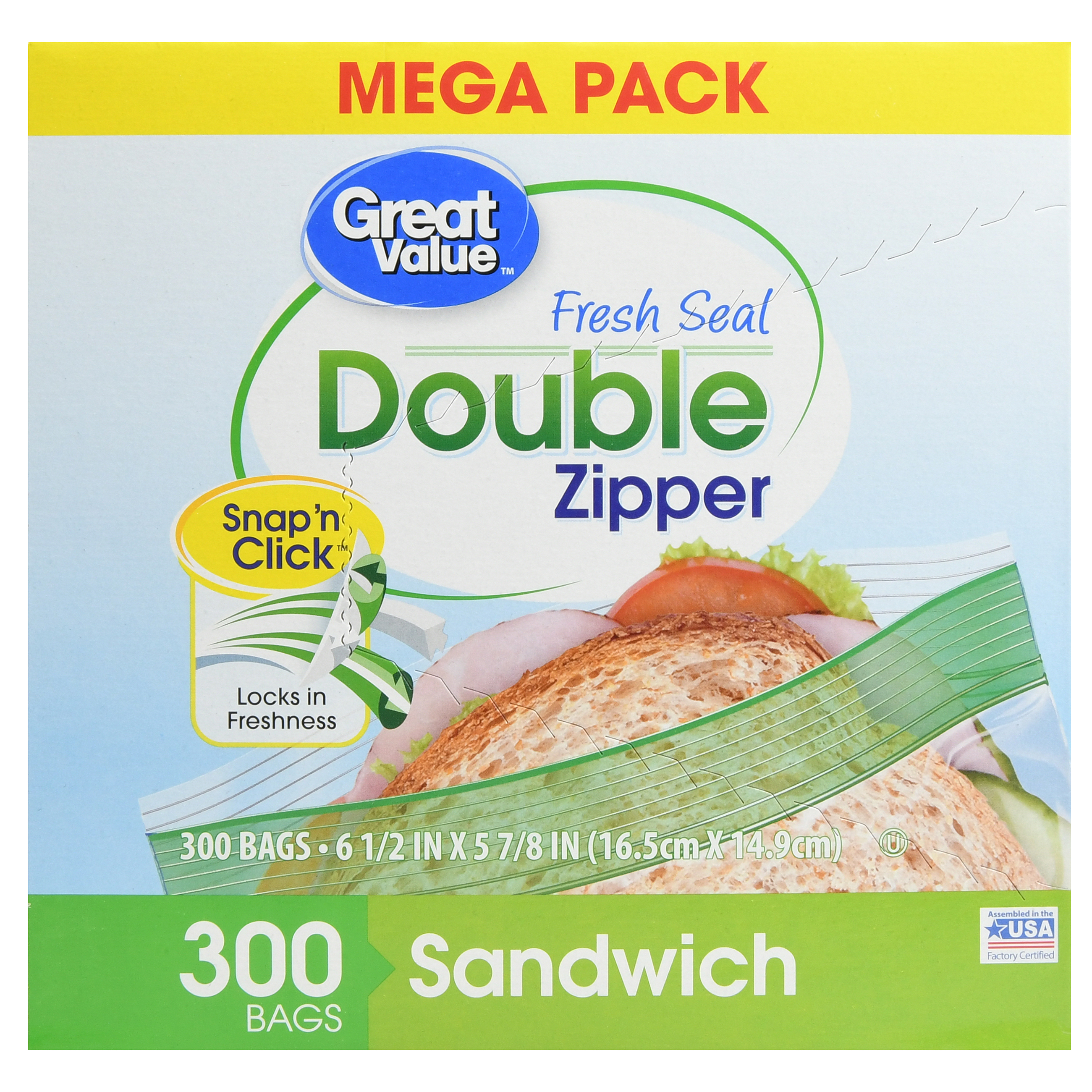 Great Value Double Zipper Food Storage Bags, Sandwich, Mega Pack, 300 Count