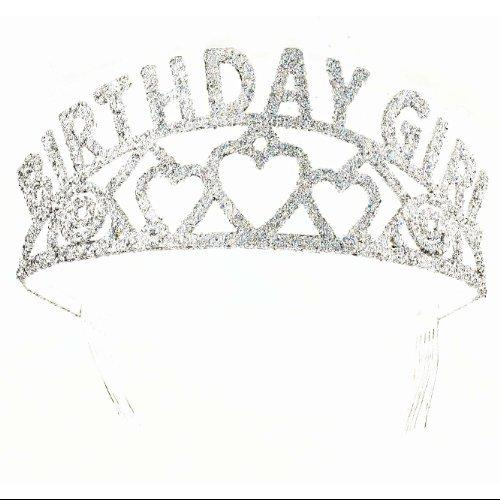 Birthday Girl Princess Sparkling Glitter Silver Tiara Crown Party Supply