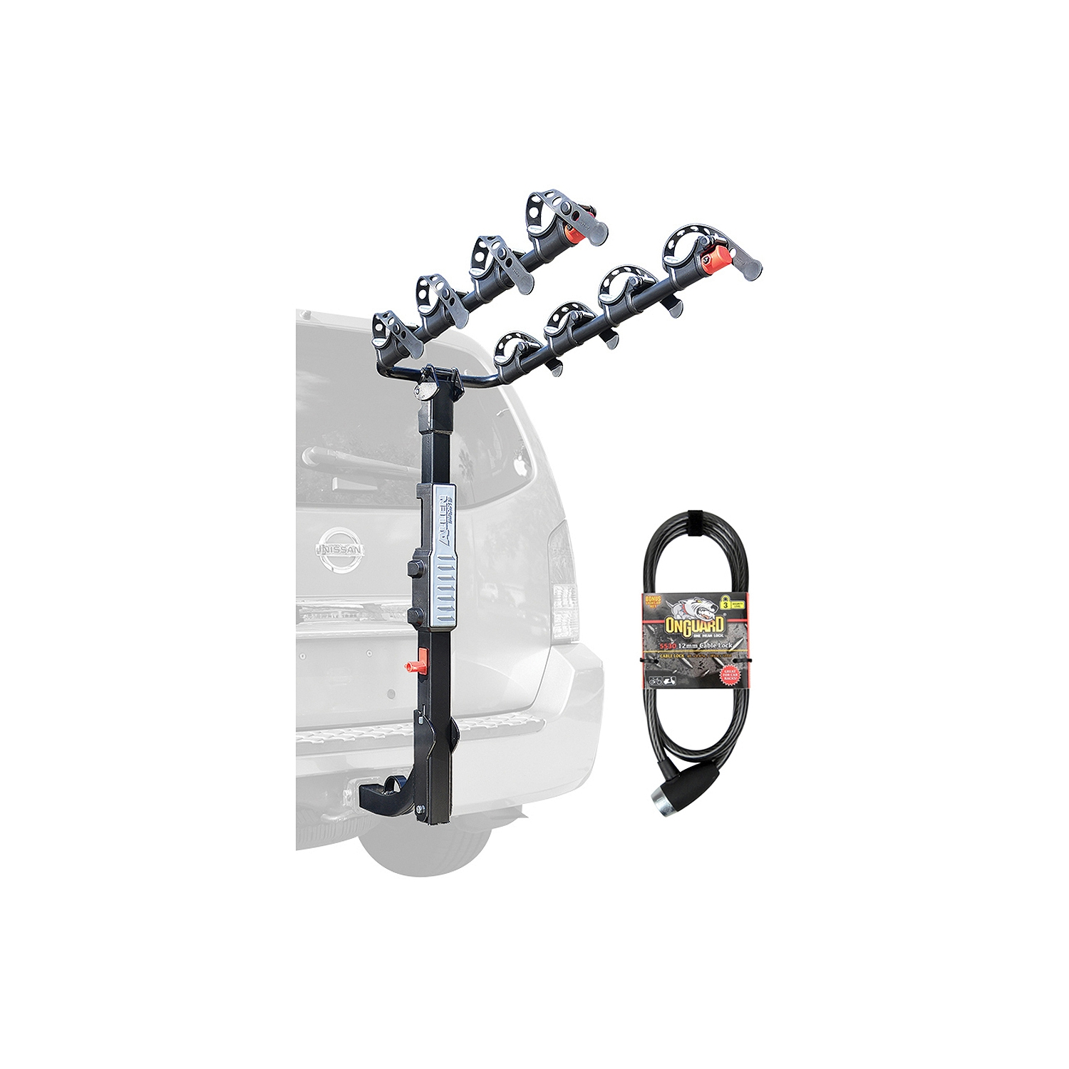 Allen Sports Premier Hitch Mounted 4-Bike Carrier with 6' OnGuard Locking Cable by Allen Sports