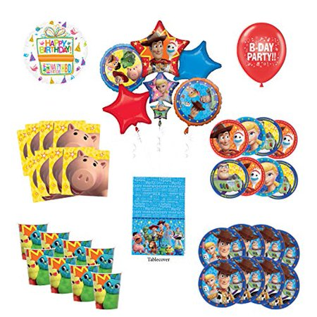 Toy Story Birthday Party Supplies 8 Guest Decoration Kit with Woody, Buzz Lightyear and Friends Balloon Bouquet - Woody Party Decorations