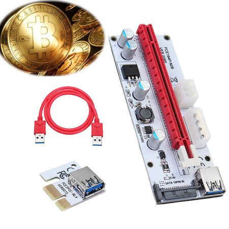 PCI-E Connector Express 1x to16x Extender Riser Card Adapter + USB 3.0 SATA Power Cable for Bitcoin 8 GPU (Best Gpu For Hashrate)