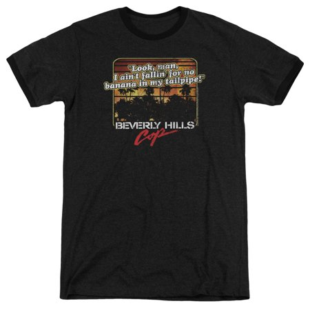 Beverly Hills Cop Banana In My Tailpipe Mens Adult Heather Ringer Shirt