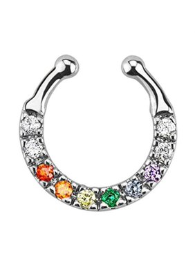 5f88e298d Product Image BodyJ4You Septum Ring Nose Rainbow Multi-Color Gem Fake Non  Piercing Illusion Jewelry