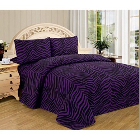 4 Piece Zebra Animal Jungle Print Super Soft Executive Collection 1500 Series Bed Sheet Set (King, Purple