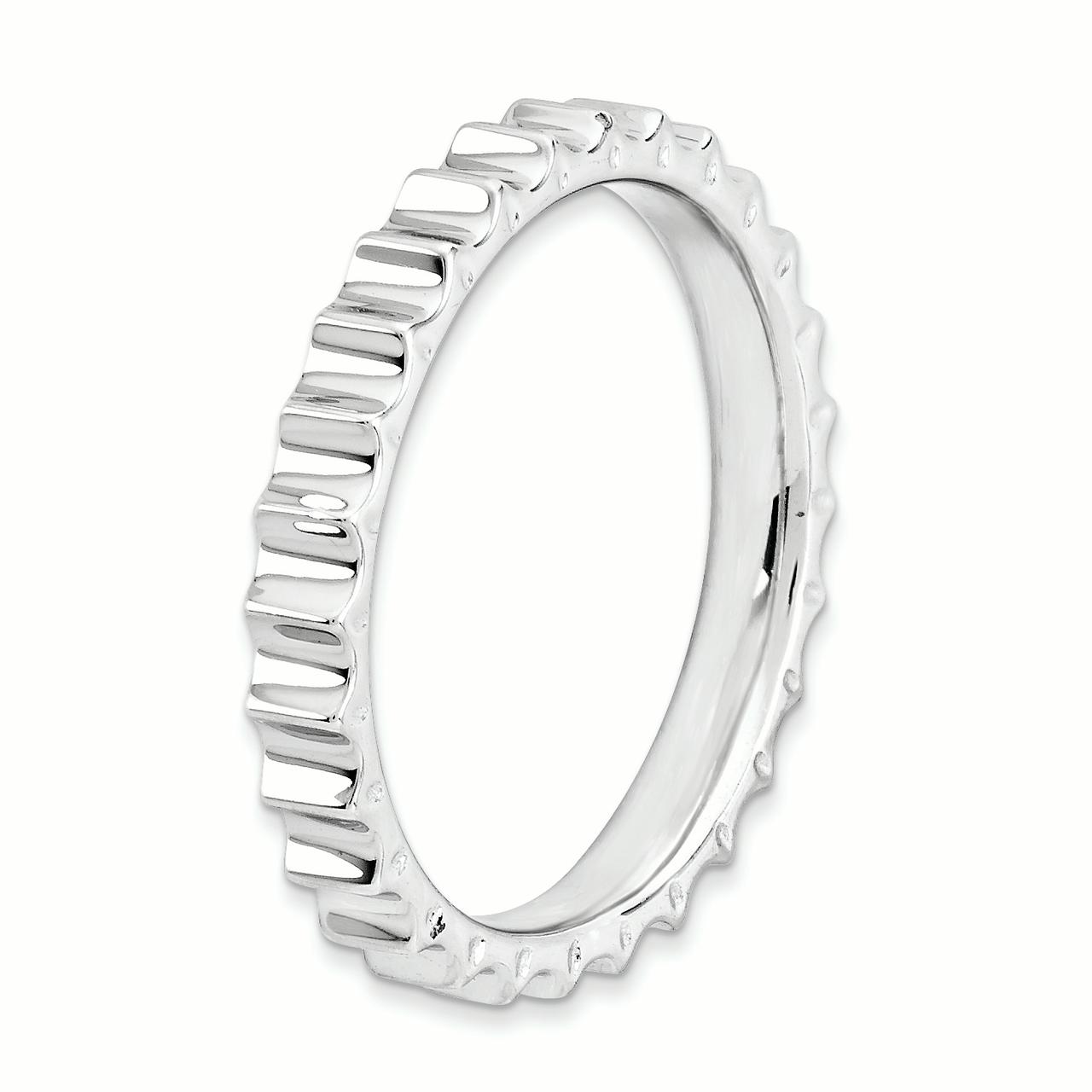 925 Sterling Silver Band Ring Size 6.00 Stackable Textured Fine Jewelry Gifts For Women For Her - image 3 de 4