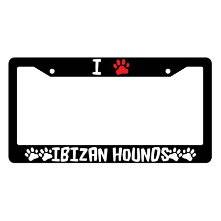 I Heart (Paw) Japanese Chins High Quality Black Plastic License Plate Frame