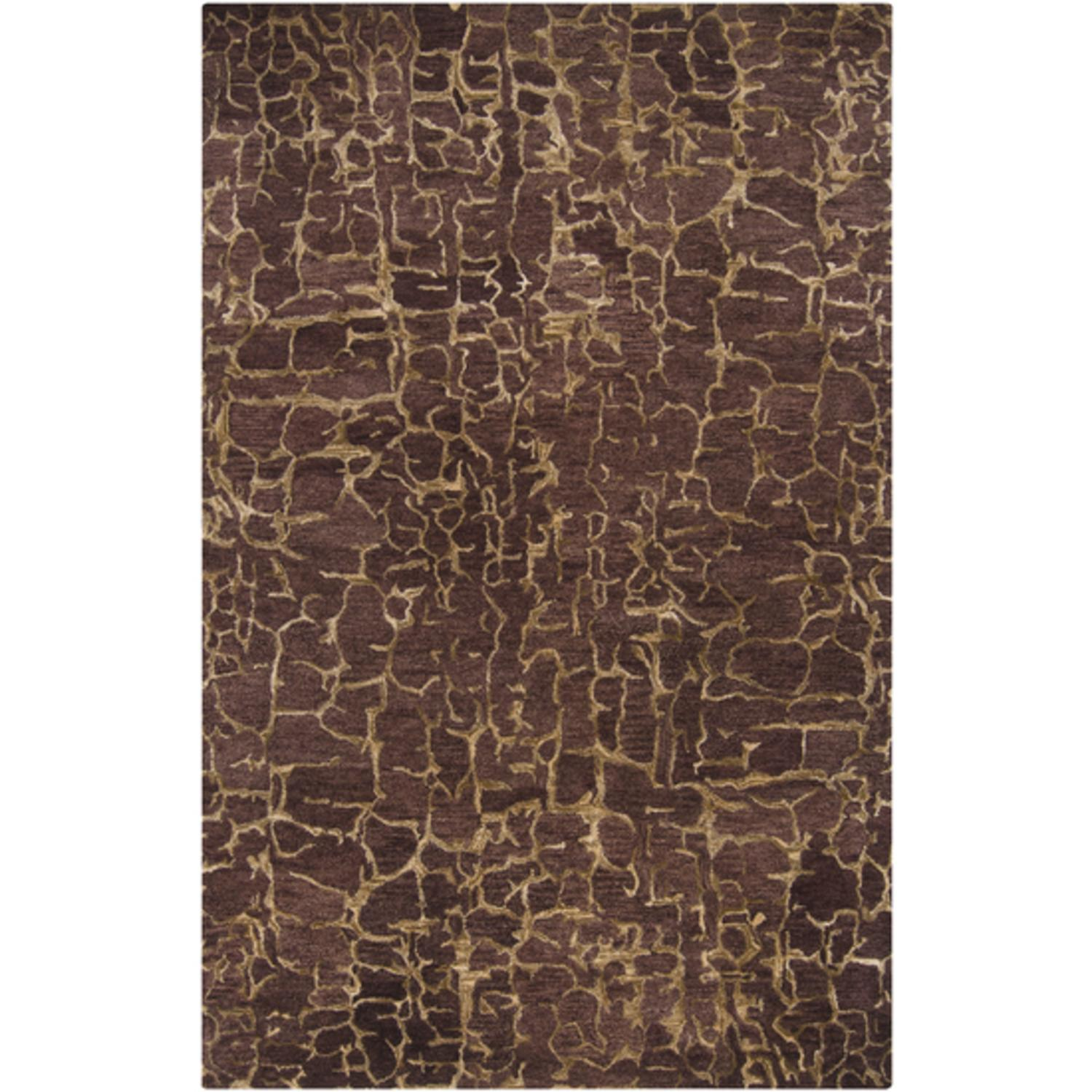 5' x 8' Cracked Pavement Parchment and Plum Wine Wool Area Throw Rug