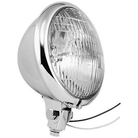 Bikers Choice Headlight (Bikers Choice H4 Bulb Chrome Headlights for Bottom Mount with Hi Beam)