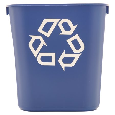 Rubbermaid Commercial Rectangular Blue Plastic Small Deskside Recycling Container  13 Qt