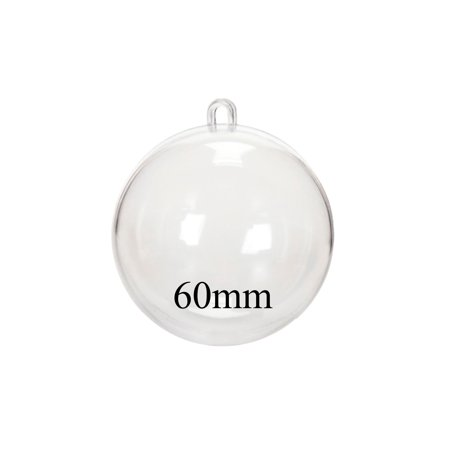 Darice Plastic Fillable Ornament Ball, 60mm, Clear - Plastic Clear Ornaments