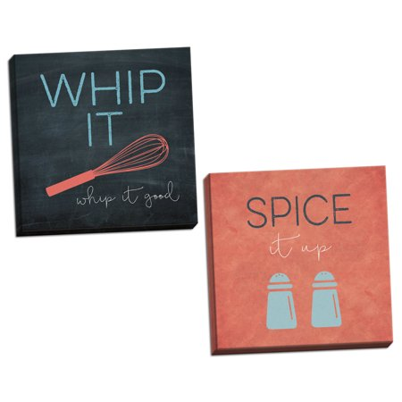 Gango Home Decor Contemporary Whip It Good & Spice It Up by Karen Tribett (Ready to Hang); Two 12x12in Hand-Stretched