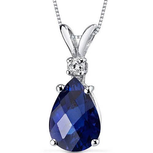 "Oravo 2.50 Carat T.G.W. Pear-Cut Created Blue Sapphire and Diamond Accent 14kt White Gold Pendant, 18"" by Oravo"