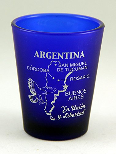 Argentina Cobalt Blue Frosted Shot Glass by World By Shotglass