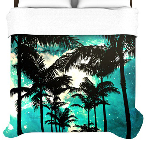Kess inhouse palm trees and stars woven comforter duvet cover