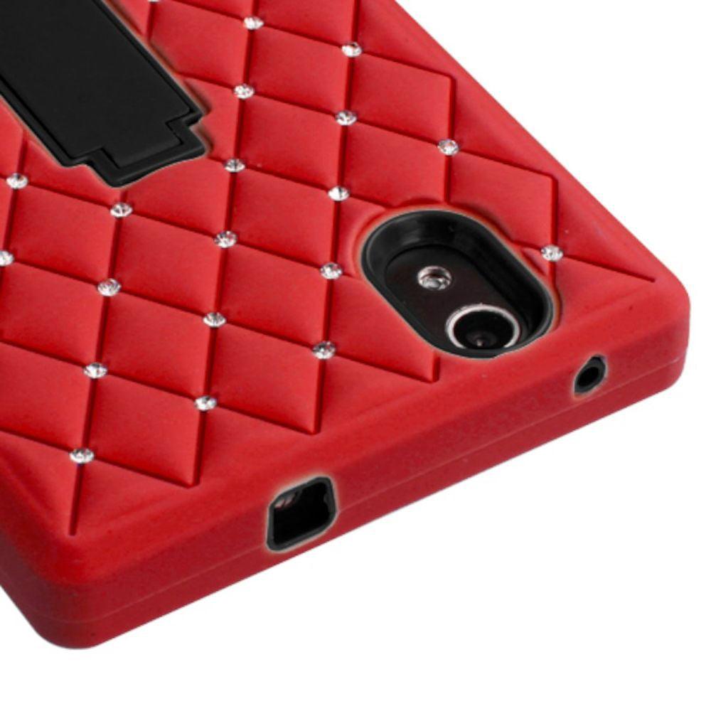 Insten Symbiosis Skin Dual Layer Rubber Hard Cover Case w/stand/Diamond For ZTE ZMax - Red/Black - image 1 de 3