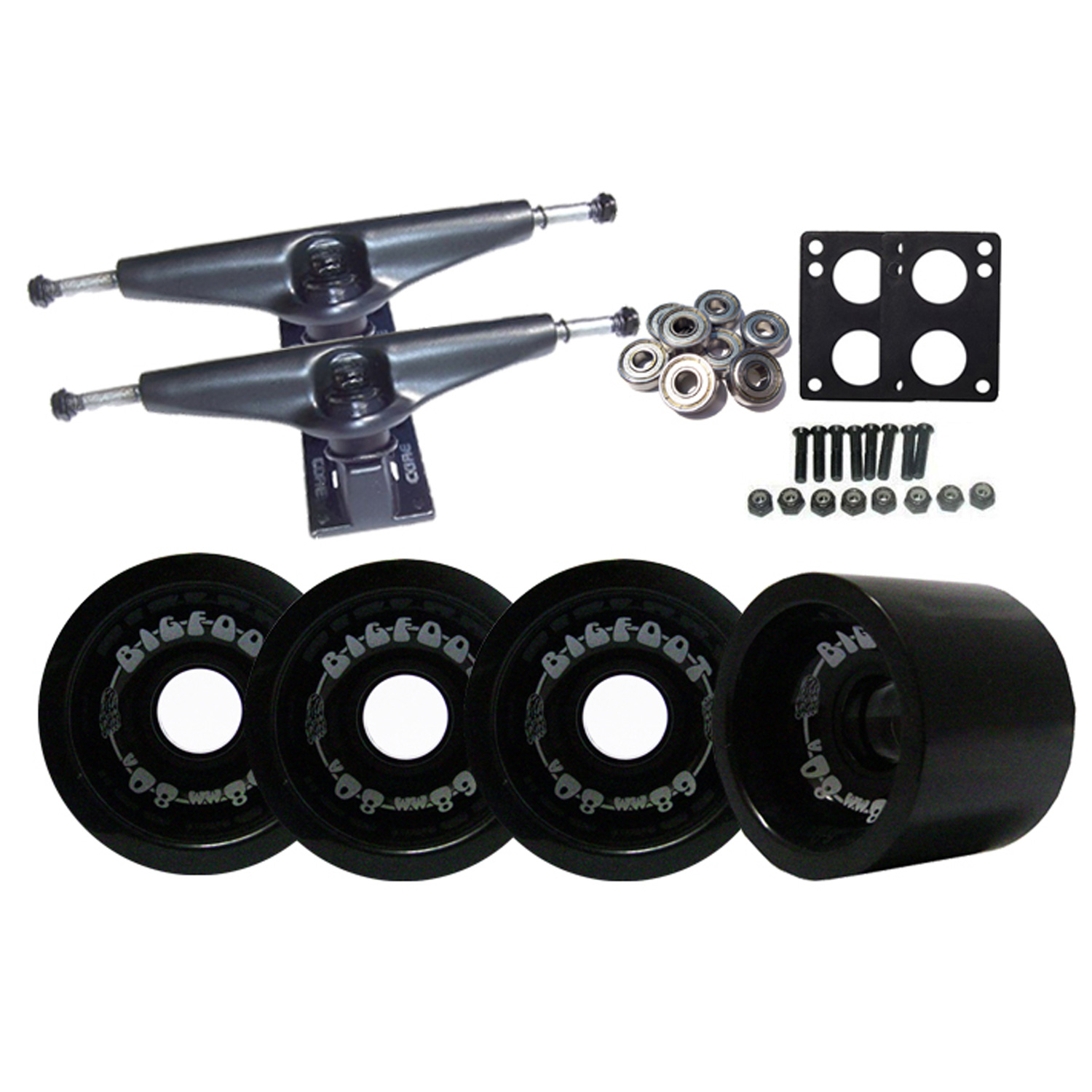BLACK Skateboard LONGBOARD TRUCKS BIGFOOT 80a WHEELS