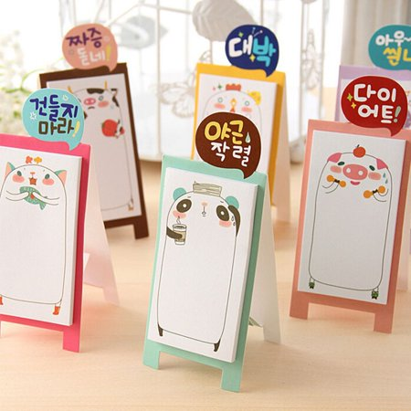 Korean Stationery Cute Memo Pads Sticking Memo Note Can Stand Scrapbook