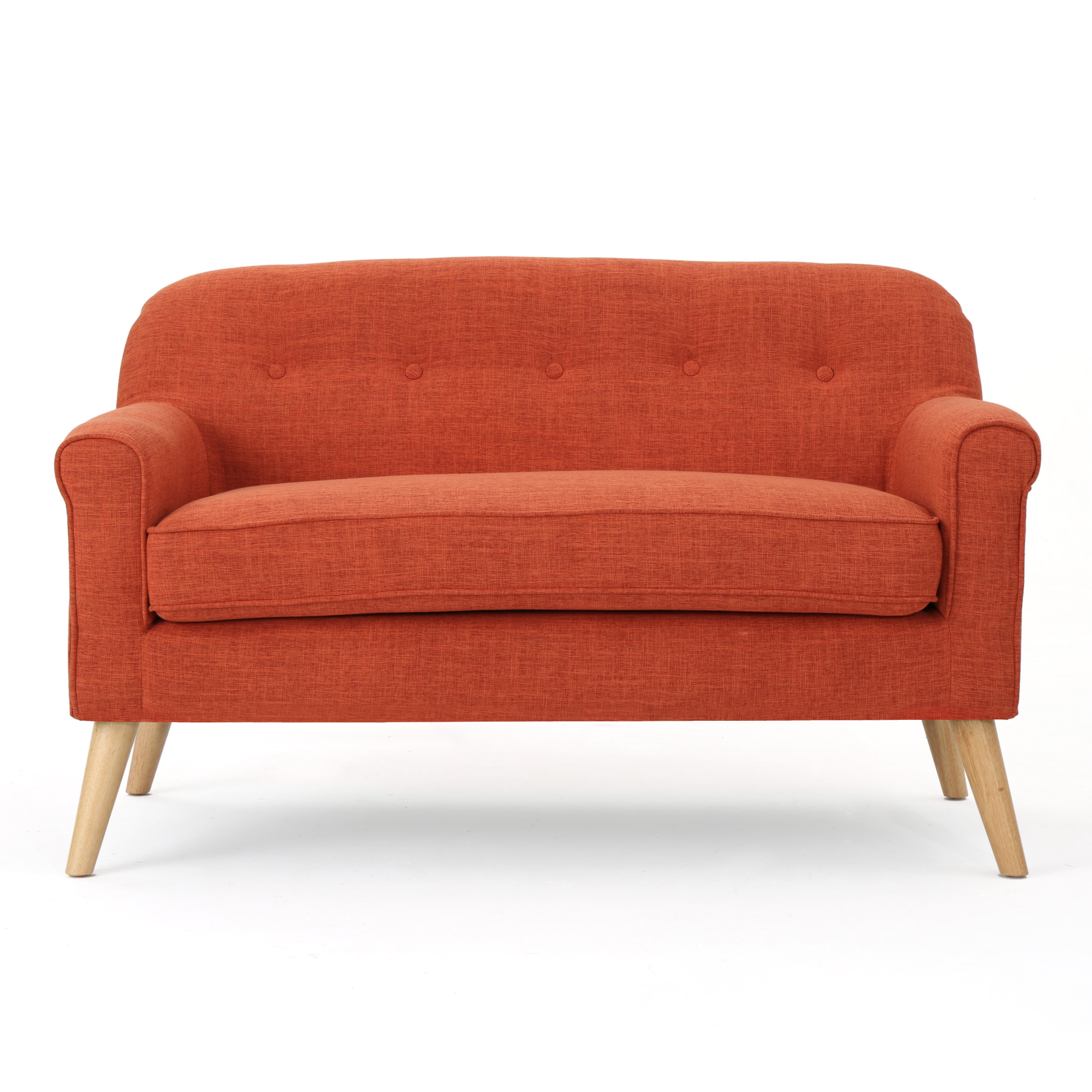 Mia Mid Century Modern Loveseat, Muted Orange