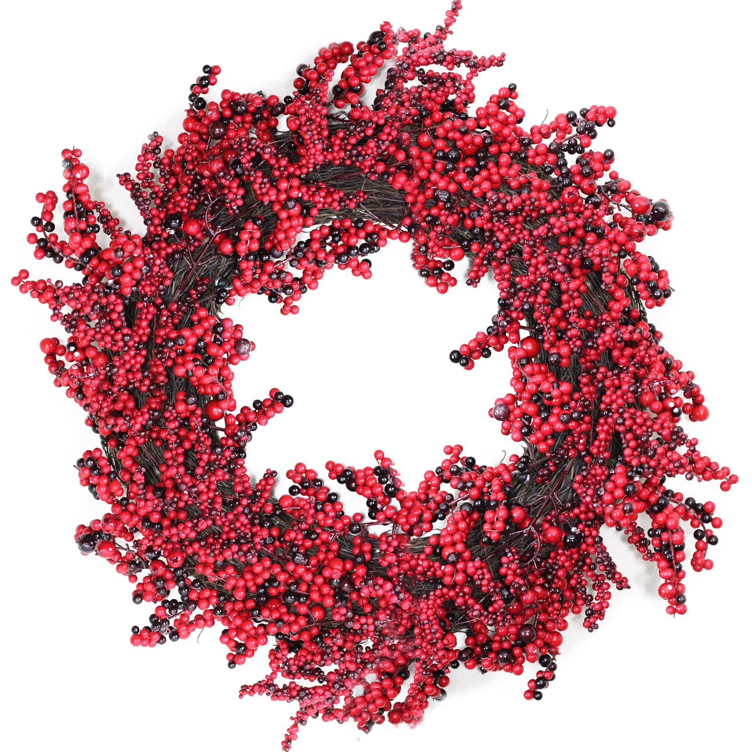 Northlight 22 Decorative Artificial Burgundy Red Berry Christmas Wreath  -  Unlit