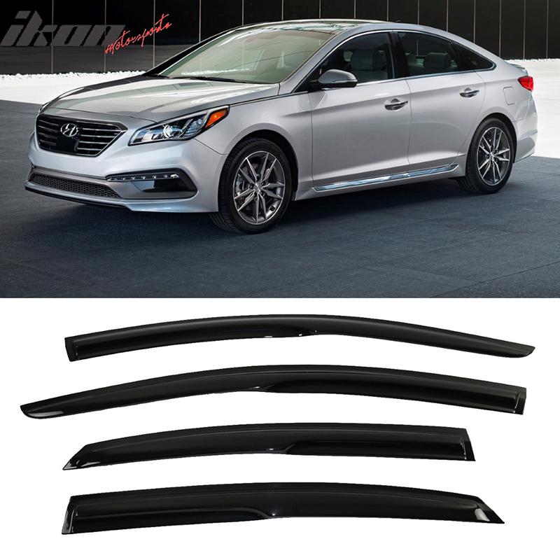 For 15-17 Hyundai Sonata Smoked Aero JDM Wind Deflectors ...