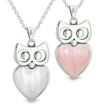 Amulets Owl Cute Hearts Love Couples Set White Simulated Cats Eye and Pink Pendant Necklaces