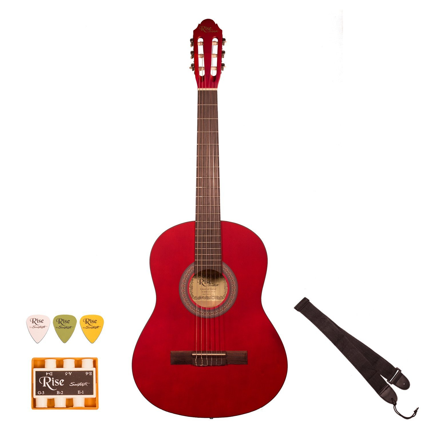 Rise by Sawtooth 3 4 Size Beginner's Acoustic Guitar with Accessories, Satin Gold Stain by Sawtooth